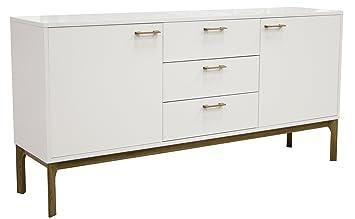 Tenzo 2375-001 MORE - Designer Sideboard, Untergestell Eiche massiv, 87 x 176 x 43 cm, weiß eiche / lackiert matt