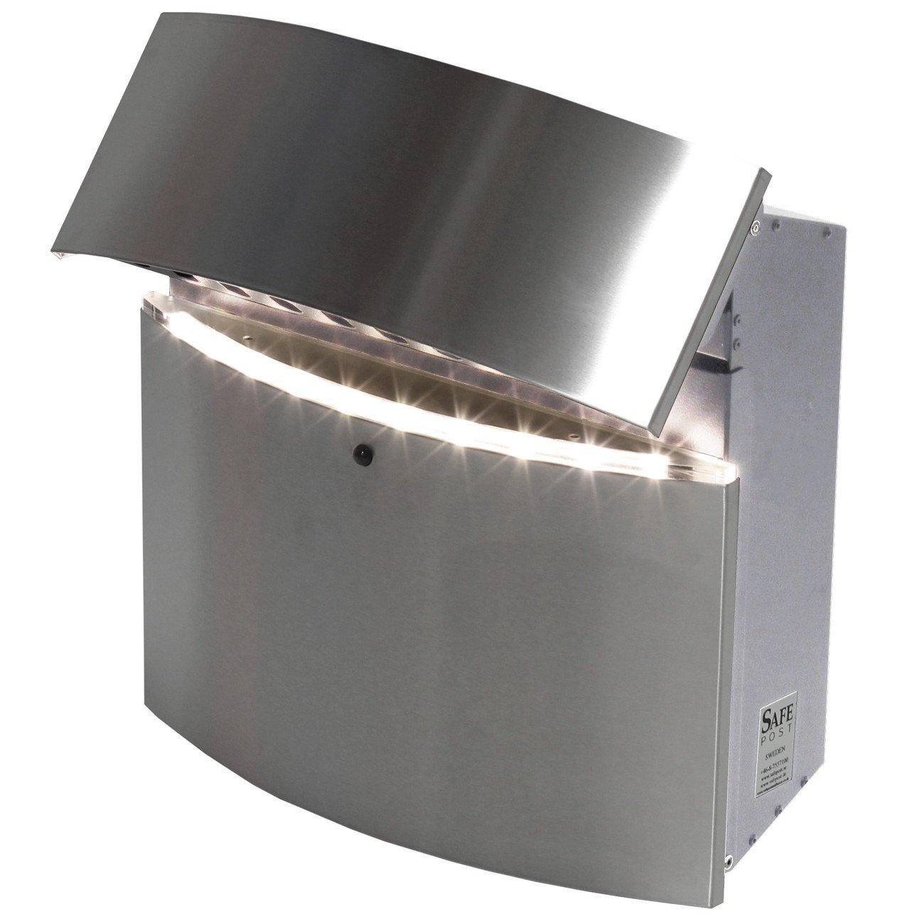 SafePost 124 LED Briefkasten, Edelstahlfront, Bewegungsmelder 39,5 x 40 cm  BaumarktKundenbewertung und Beschreibung