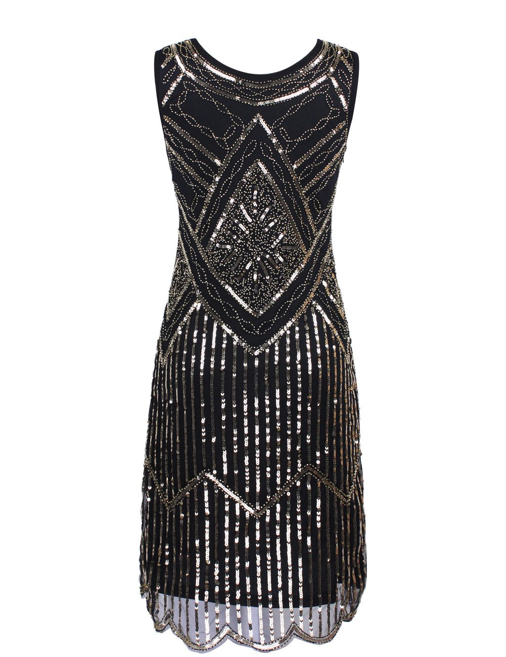 KAYAMIYA Women's 1920S Sequined Fringe Beaded Gatsby Flapper Evening Dress 1