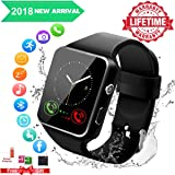 Smart Watch,Smart Watches,Smartwatch for Android Phones, Smart Wrist Watch Touchscreen with Camera Bluetooth Watch Phone Watch Cell Phone Compatible Android Samsung iOS iPhone Xs XR X 8 7 6 Men Women (Color: Black)