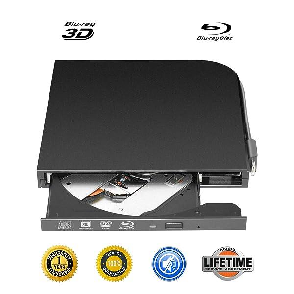External Blu-ray DVD Drive Portable USB 2.0 3D Blu-ray CD Burner Ultra-Thin USB 3.1 Type-C USB-C External Blu-ray DVD CD Player BD-ROM Superdrive for PC Computer Desktop (Black-) (Color: Black-)