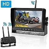 LeeKooLuu HD Digital Wireless Dual Backup Camera 7'' Monitor Split Screen Highway Observation System for Travel Trailers/RVs/Pickup/Trucks/Motorhome IP69K Waterproof Super Night Vision (Color: 7''Camera-System)