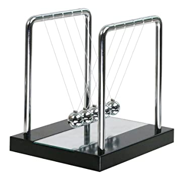 BOJIN Pendule/Balancier/Boucle de Newton avec Miroir Socle en Bois Massif Jeux Scientifiques Cadeau Décoration pour Bureau/ Chambre/Salon- Moyen