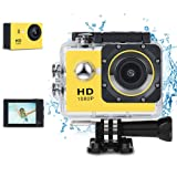 KKlove Kids Digital Camera, Waterproof Camera for Kids Toy for Boy Girls Holiday Birthday Gift with 2.0 Inch LCD Display with 8GB SD Card (Color: Yellow1)