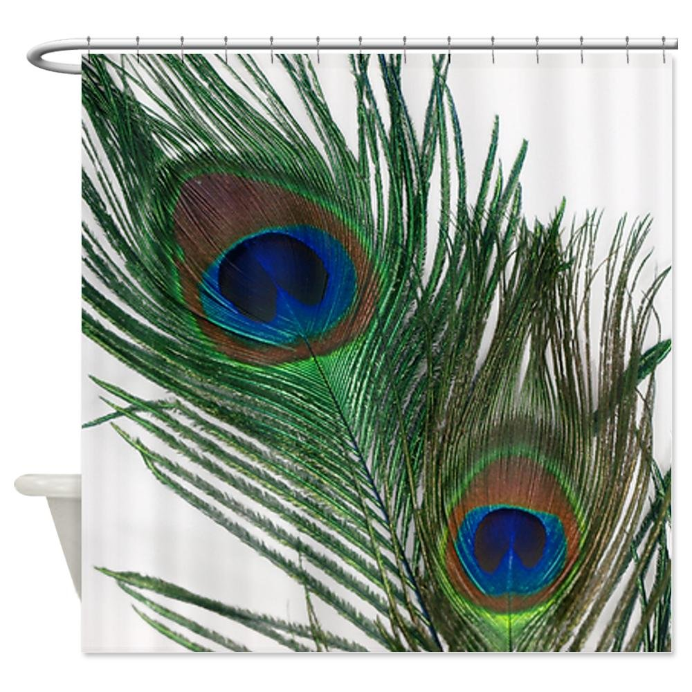CafePress Lovely Peacock Feathers Shower Curtain - Standard White