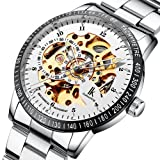 Multi Color Luxury Ik 98226 Stainless Steel Automatic Skeleton Mechanical Wristwatch Hollow Men's Watches Pbao Baby Carrier (Style11) (Color: Silver)