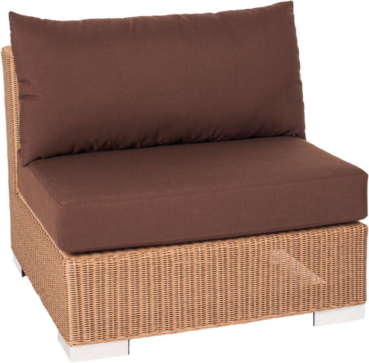 Dreams4Home Mittelement 'Marlo' - Sitz, Sitzelement, Element, Stuhl, Terrassenmöbel, Loungemöbel, Cocktailmöbel, B/H/T: 78 x 65 x 78 cm, Gartenmöbel inklusive Kissen, Rattan, Aluminiumgestell, in braun