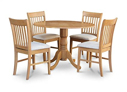 East West Furniture DLNO5-OAK-C 5-Piece Kitchen Table Set, Oak Finish