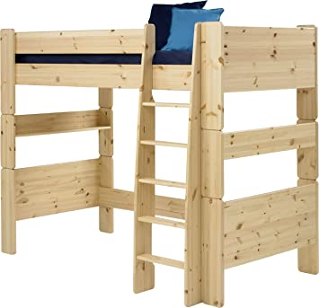 Steens Kids High-Sleeper Bed with Ladder, Natural Lacquer Finish