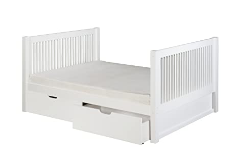Camaflexi Mission Style Solid Wood Tall Full Platform Bed with Drawers, White