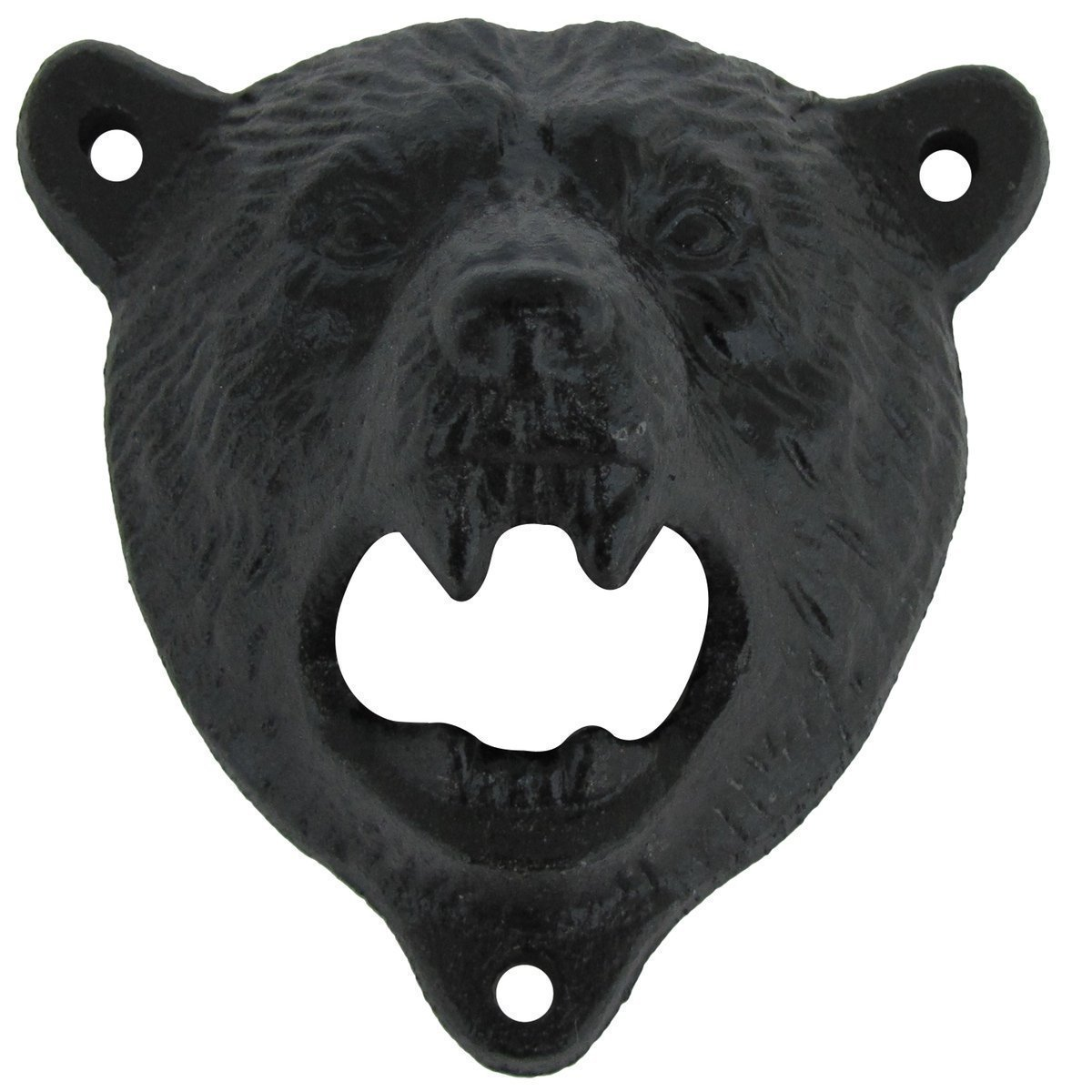 Cast Iron Wall Mount Grizzly Bear Teeth Bite Bottle Opener (Black) 0