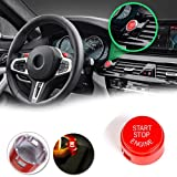 GTinthebox Red Start Stop Button Push Button Ignition Switch Cover Replacement Cap For BMW 5 6 7 F01 F02 F10 F11 F12 2009-2013 etc (Without OFF Button) (Color: Red, Tamaño: Without