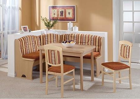 Dreams4Home Eckbankgruppe 'Mana' Essgruppe 170 x 130 x 89 cm Tisch 2 Stuhle modern Buche Dekor braun Eckbank Kuchentisch 4-teilig Landhaus Kuche