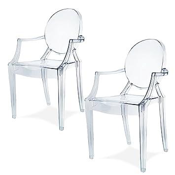 Spirit trasparente Ghost sedia per sala da pranzo, poltrona design moderno stile Louis Kartell Philippe Starck, set di 2 sedie (KRISTAL)
