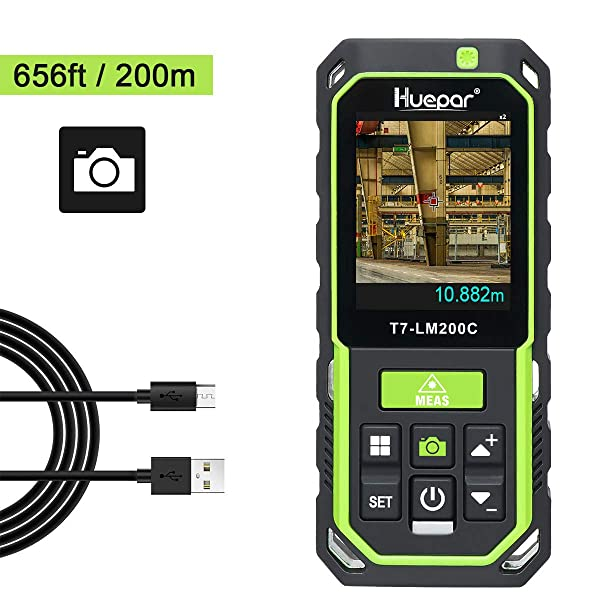 Huepar Laser Distance Meter with Camera 2X/4X Zoom, 656Ft High Accuracy Rechargeable Laser Measure M/In/Ft with 17 Measurement Modes-Pythagoras, Stake Out, Tilt Sensor, Color Backlit Display- LM200C