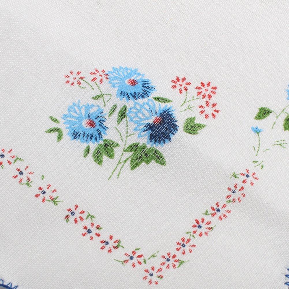 CANIS 12pcs/Set Lot Ladies Women Vintage Cotton Quadrate Hankies Floral Handkerchief 4