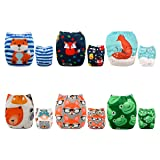 ALVABABY Pocket Cloth Diapers Reusable Washable Adjustable for Baby Boys and Girls,6 Pack with 12 Inserts 6DM43 (Color: boy color 6DM43, Tamaño: All in one)