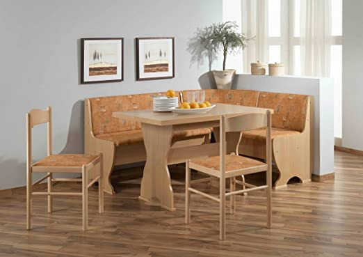 Dreams4Home Eckbankgruppe 'Carta' Essgruppe 159 x 119 x 79 cm Tisch 2 Stuhle modern Buche Dekor terracotta Eckbank Kuchentisch 4-teilig Landhaus Kuche