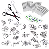 175 Pieces 14G and 16G Body Piercing Jewelry Starter Kit w Piercing Needles and 25 Pc Retainer Bonus