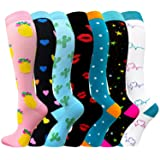 Compression Socks for Women & Men(1/7/8 PACK) - Best for Running, Athletic Sports, Crossfit, Flight Travel-20-30 mmHg (Color: A Assorted 5 - 7 Pairs, Tamaño: Small/Medium (US Women 7-10.5/US Men 6-9.5))