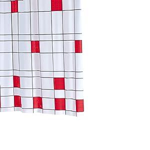 Ridder 323960-350 - Cortina de ducha (200 x 180 cm) de plástico, diseño de cuadros color rojo   Comentarios y más información