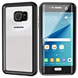 Lanwow S7 Edge Waterproof Case Support Wireless Charging Built in Curved Screen Protector Rugged Shockproof Transparent Cover Waterproof Case for Samsung Galaxy S7 Edge (5.5inch)—Classic Black (Color: Black)