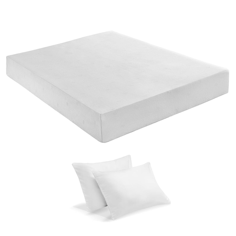 Sleep Innovations 10-Inch SureTemp Memory Foam Mattress With 20-Year Warranty, with 2-Bonus Memory Foam Pillows, Twin Size
