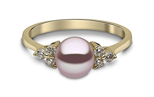 Kimura Pearls 9ct Yellow Gold Natural Colour Freshwater Pearl and Diamond Ring - Size P RN0052-201NP