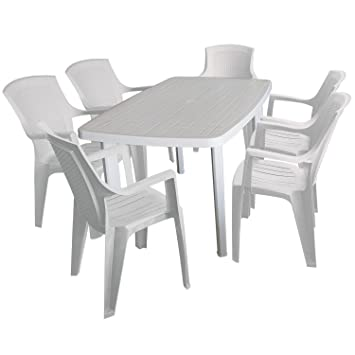 7tlg Campingmöbel Terrassenmöbel Set - Gartentisch 138x87cm + 6x Stapelstuhl - Weiss, Vollkunststoff - Gartenmöbel Sitzgruppe Sitzgarnitur Campinggarnitur