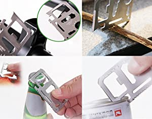 Stainless Steel 11 in 1 Beer Opener Survival Card Tool Fits Perfect in Your Wallet (10 pack) (Color: Silver, Tamaño: 10 pack)