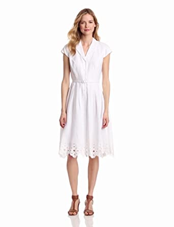 Jones New York Women's Solid Shirt Dress, White, 10
