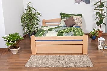 """Bett / Funktionsbett """"Easy Sleep"""" K4, inkl. 2 Schubladen und 1 Abdeckblende, 140 x 200 cm Buche Vollholz massiv Natur"""