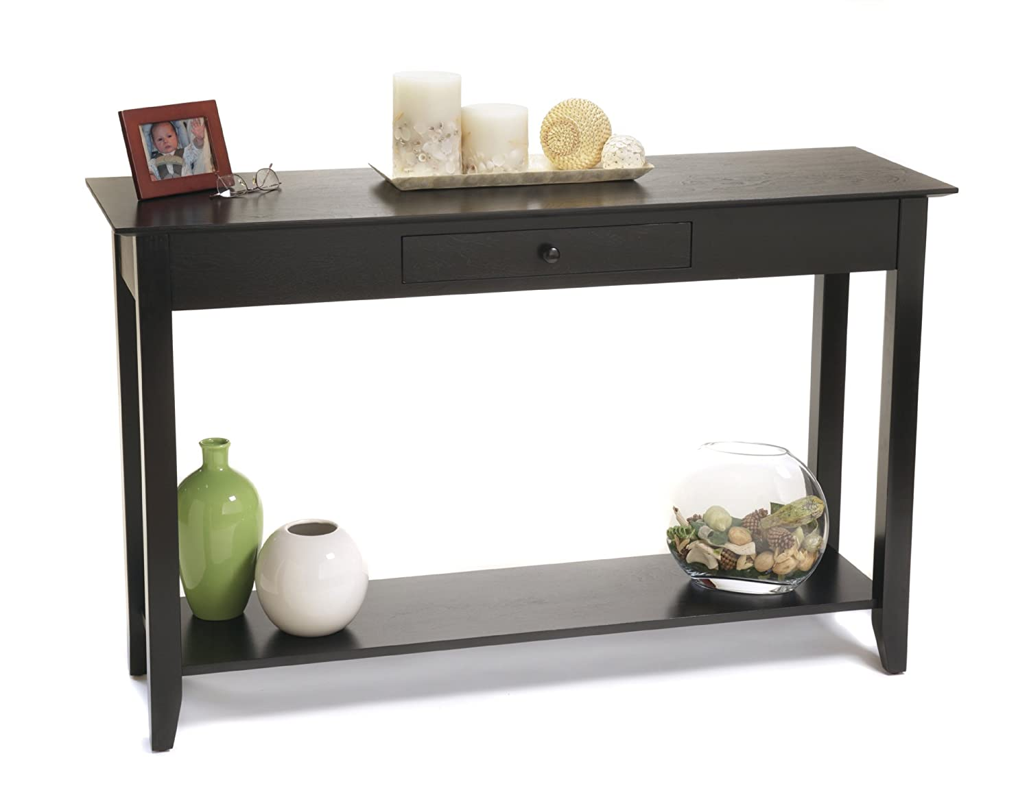 Black console table native home garden design for Table console