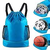 SKL Drawstring Bag Backpack with Ball Shoe Compartment Sport Gym Sackpack String Bag for Men Women Soccer Basketball (Color: Blue)