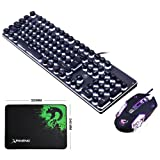 LexonElec Keyboard Mouse Combo Gamer K100 Wired White LED Backlit Punk Keycap Metal Pro Gaming Keypad + 3200DPI 6 Buttons Mouse + Mice Pad for Laptop PC (Black & White LED Backlit) (Color: Black & White LED Backlit)