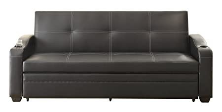 Homelegance 4838 Convertible/Adjustable Sofa Bed, Black Bi-Cast Vinyl
