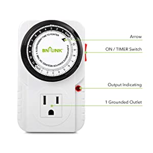 BN-LINK 24 Hour Plug-in Mechanical Timer Grounded, Accurate Heavy Duty, 3-Prong for Lamps Fans Christmas String Lights White AC 1875W 1/2 HP, UL Listed (2 Pack)