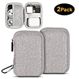 [2 Pcs] Earbuds Carrying Case, ASMOTIM EVA Hard Carrying Pouch Headphone Case Portable Travel Earphone Case Pouch for Airpods Headset Charge Cable USB Key with Durable Exterior,Soft Cloth Inner (Color: Grey, Tamaño: Rectangle)