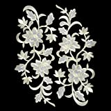 2pcs White Flowers Iron On Patches Garment Applique Embroidery DIY Accessory Cheongsam Skirt Clothes (White A) (Color: White A)