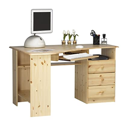 Steens Group 1632790019000N Kent Bureau d'Angle Pin Massif Bois Naturel Verni 133 x 73 x 95 cm