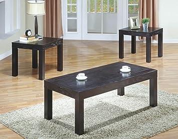Monarch Dark Walnut Coffee Table Set