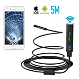 Pancellent Wireless Snake Camera with Function Stick WiFi Inspection Camera 1200P HD Endoscope with 8 LED Light Rigid Cable Borescope for iPhone Android Smartphone Table Ipad PC (5 Metes,16.5 FT) (Tamaño: 1200P)