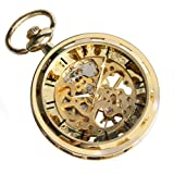 SwitchMe Steampunk Skeleton Hand Winding Mechanical Pocket Watch Open Face with Belt Clip Chain (Gold)