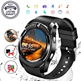 Smart Watch,Bluetooth Smartwatch Touch Screen Wrist Watch with Camera/SIM Card Slot,Waterproof Phone Smart Watch Sports Fitness Tracker Compatible Android Phone iOS Phones for Men Women Kids (Black) (Color: v8)