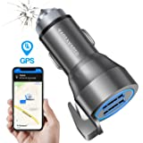 Quick Car Charger with GPS Car Finder Hammer Belt Cutter - Dual USB Ports 24W 4.8A LED Fast Charging Adapter for Apple Cell Phone iPhone X 8 7 6 Plus Android Samsung Galaxy S9 S8 S7 Note Laptop iPad (Color: Silver)