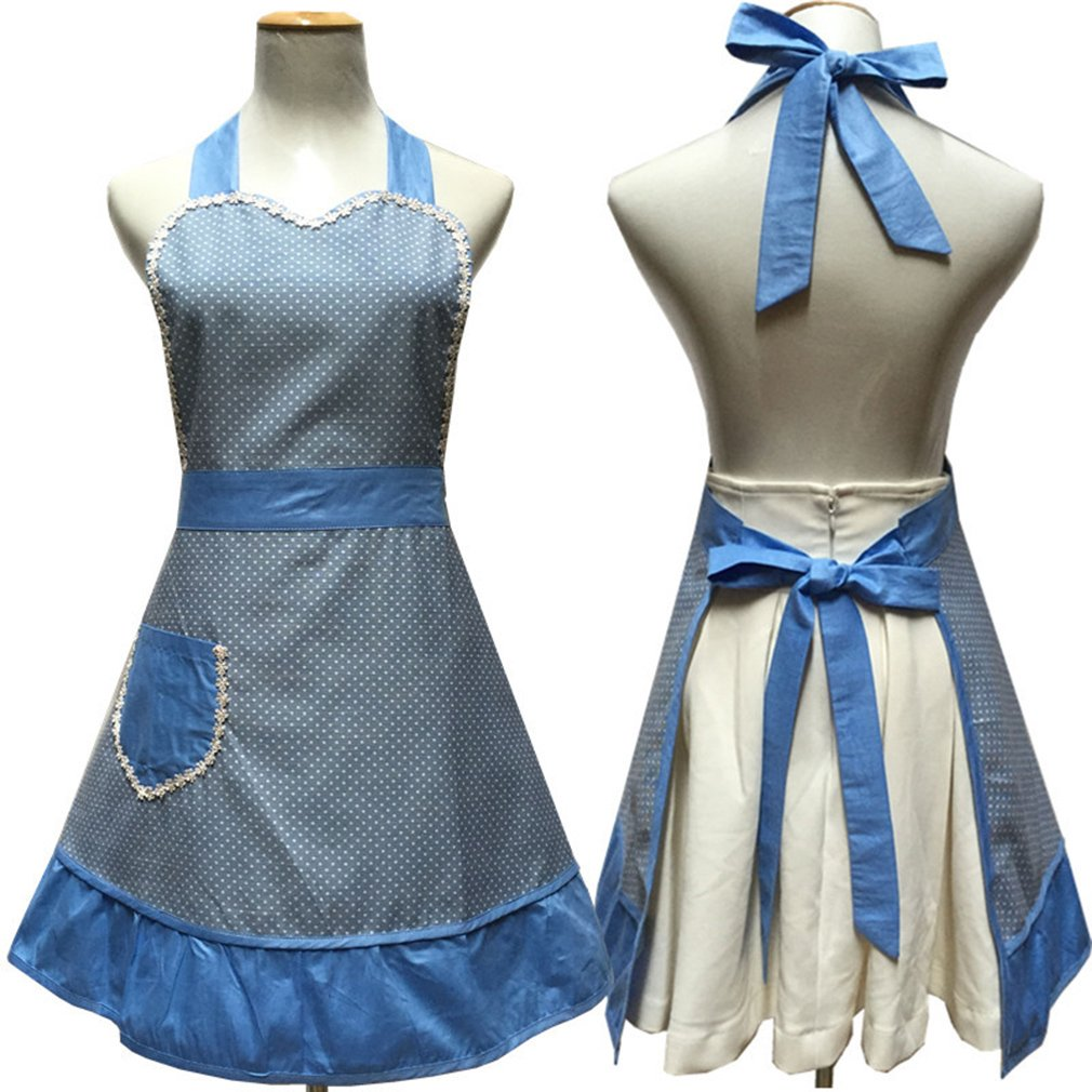 Lovely Sweetheart Retro Kitchen Aprons Woman Girl Cotton Cooking Salon Pinafore Vintage Apron Dress with Pocket,Blue 3