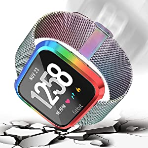 Screen Protector Case for Fitbit Versa, Haojavo Soft TPU Slim Fit Full Cover Screen Protector for Fitbit Versa Smartwatch Bands Accessories (Color: multicolor-b)