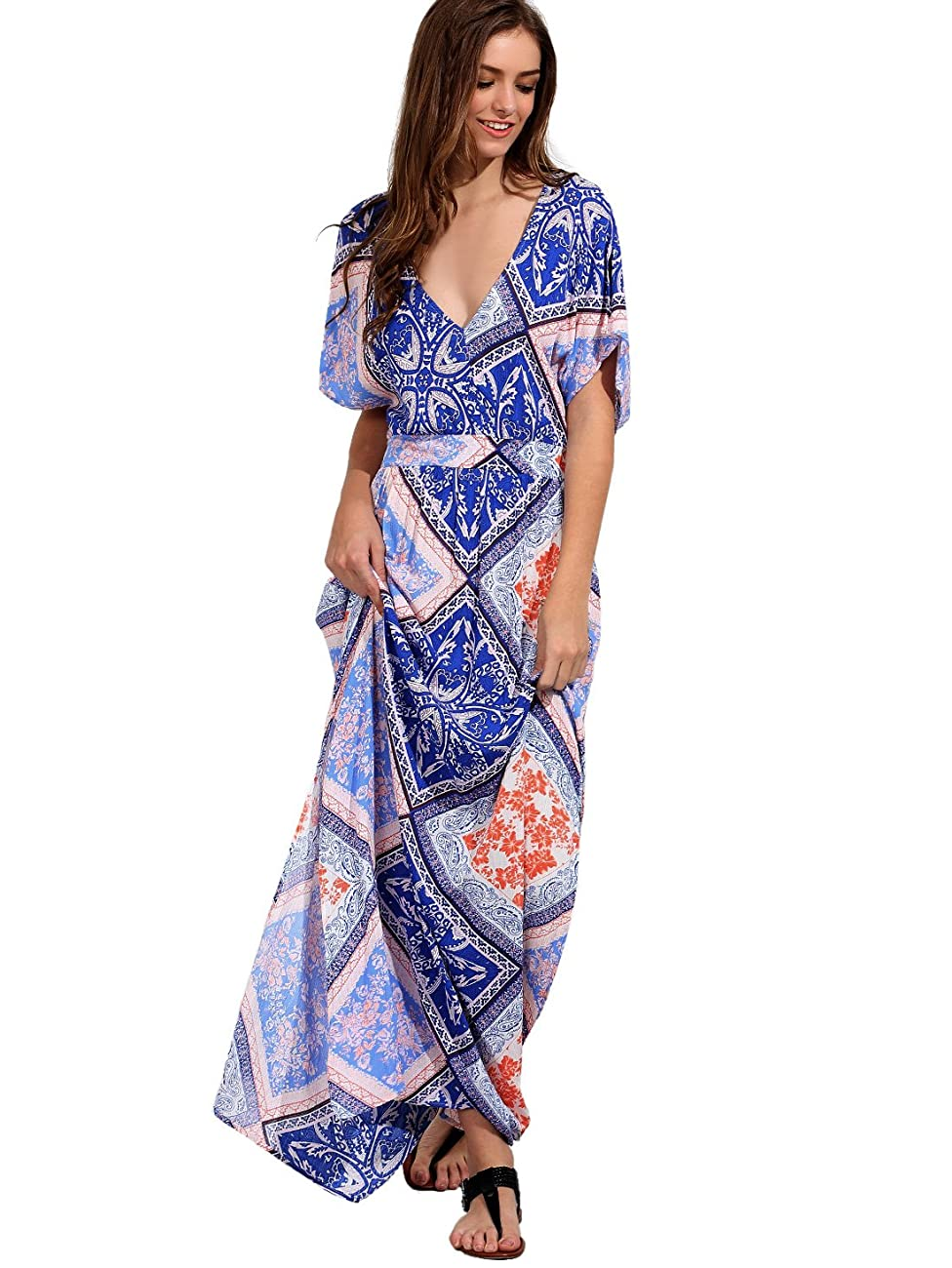 Milumia Women's Boho Split Tie-Waist Vintage Print Maxi Dress 3