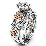 OldSch001 Womens Ring Silver & Rose Gold Filed Wedding Engagement Floral Rings Band (Silver, 8) (Color: Silver)