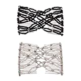 Casualfashion 2Pcs Wedding Bridal Crystal Rhinestone Combs, Magic Hair Comb, Double Clips for Women Hair Styling (Color: Pink&Black, Tamaño: Free Size)